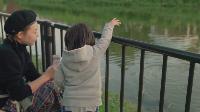 mother and daughter in the park. - pond stock videos & royalty-free footage