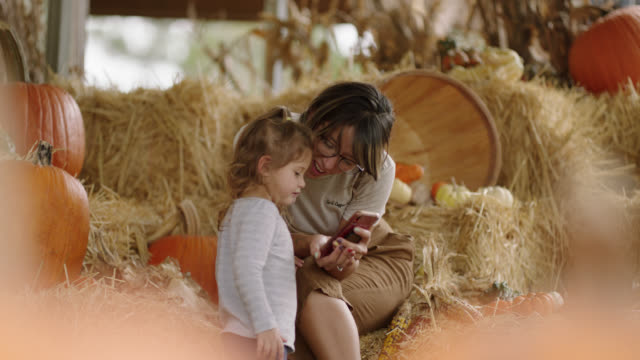 slo mo. a mother and daughter look at selfies they took together at a pumpkin patch - real life stock videos & royalty-free footage