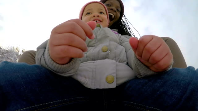 mother and daughter on sliding,pov - sliding stock videos & royalty-free footage