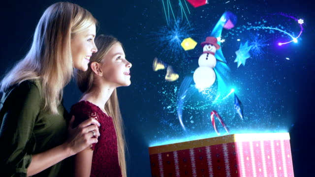 mother and daughter opening christmas gift - christmas gift stock videos and b-roll footage