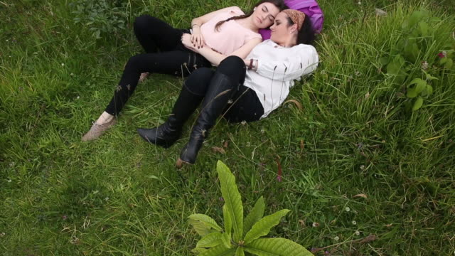 Mother and daughter relax in green meadow, raised view
