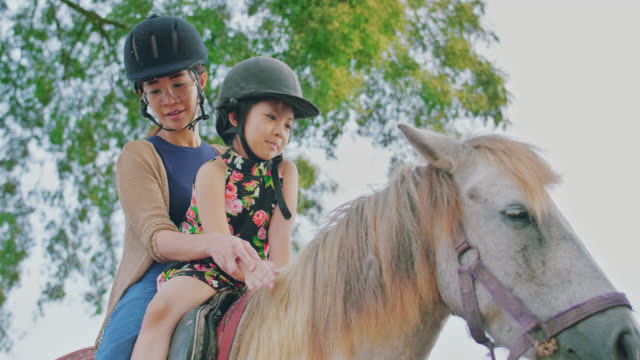slo mo mother and daughter riding a horse on a country road - ranch family stock videos & royalty-free footage