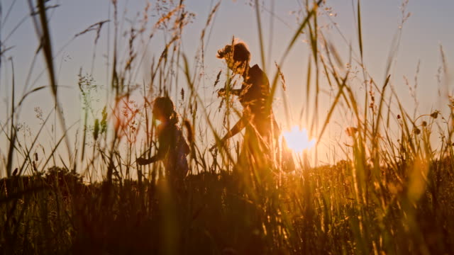 slo mo madre e figlia in esecuzione in erba - zona erbosa video stock e b–roll