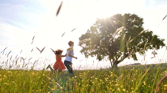 slo mo mother and daughter running in the meadow - skipping along stock videos & royalty-free footage