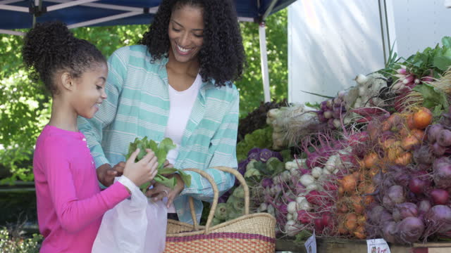 Mother and Daughter shopping at Farmers Market