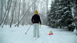 Mother and Daughter Skiing in Snowfall