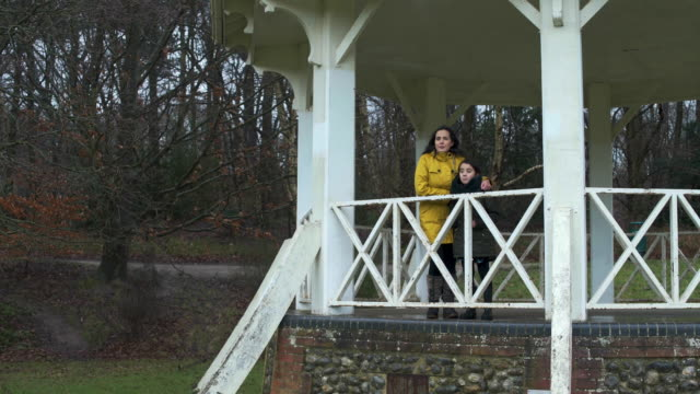 vídeos de stock, filmes e b-roll de mother and daughter standing under gazebo - gazebo