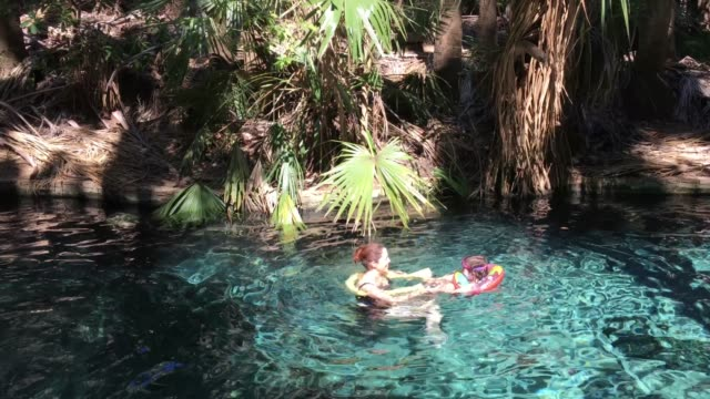 Mother and daughter swimming in Thermal Pool