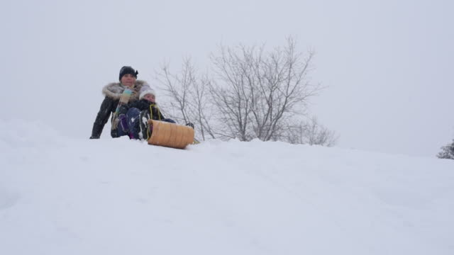 mother and daughter tobogganing - mitten stock videos and b-roll footage