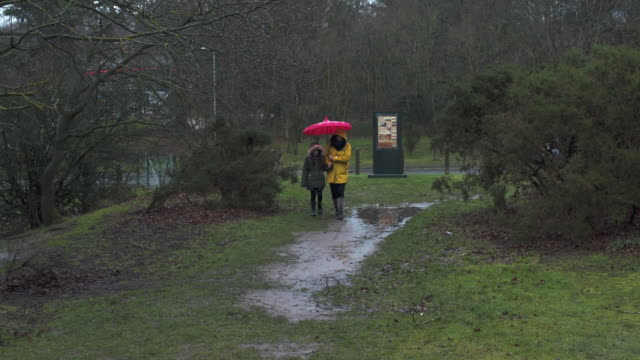 mother and daughter under umbrella - norfolk england stock videos & royalty-free footage