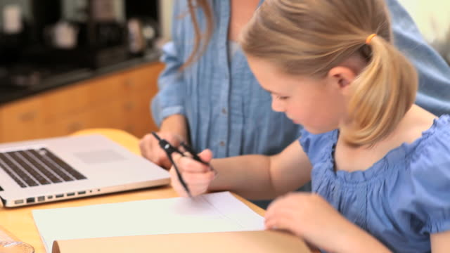 mother and daughter using a compass - drawing compass stock videos & royalty-free footage