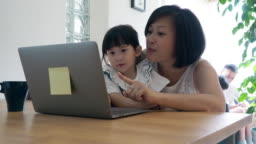Mother and daughter working together at home