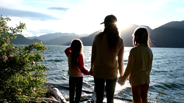 mother and daughters bonding in nature - vancouver canada stock videos & royalty-free footage