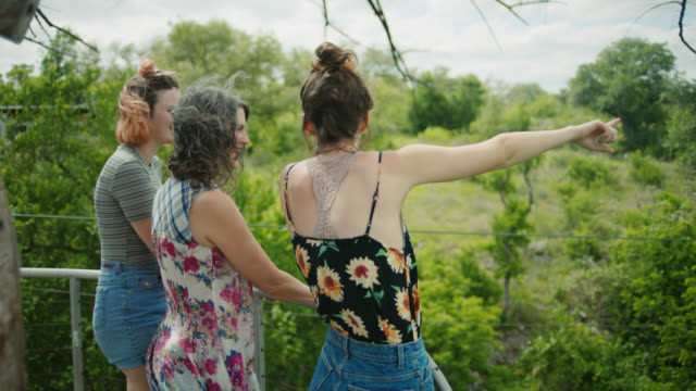 vídeos de stock, filmes e b-roll de ms. mother and daughters explore giant treehouse and point out at the view over treetops. - treehouse