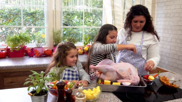 mother and her daughters preparing stuffed turkey for thanksgiving day - thanksgiving stock videos & royalty-free footage