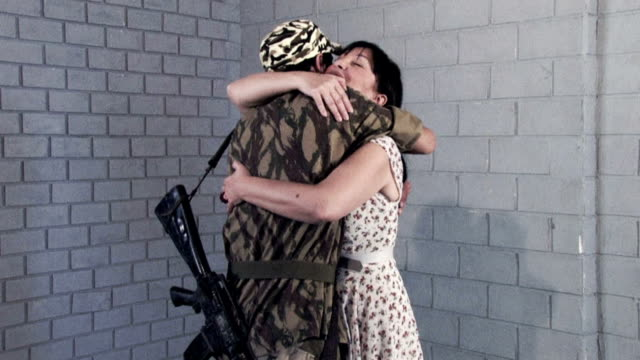 mother and her soldier son - reunion - iraq stock videos and b-roll footage