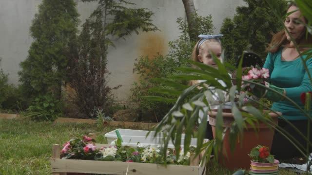 vidéos et rushes de mère et sa fille en bas âge en pot des fleurs dans leur cour arrière - gant de jardinage