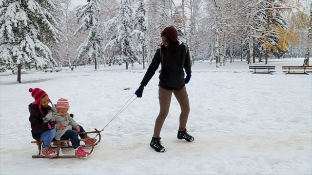 mother and  hers daughters having fun, playing and laughing on snowy winter walk in nature - sliding stock videos & royalty-free footage