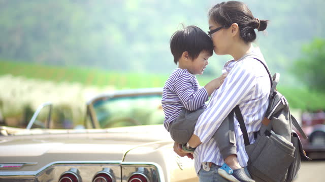 mother and son bonding - convertible stock videos & royalty-free footage