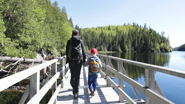 vídeos de stock, filmes e b-roll de mãe e filho atravessando uma ponte flutuante no parque nacional de aiguebelle - água parada