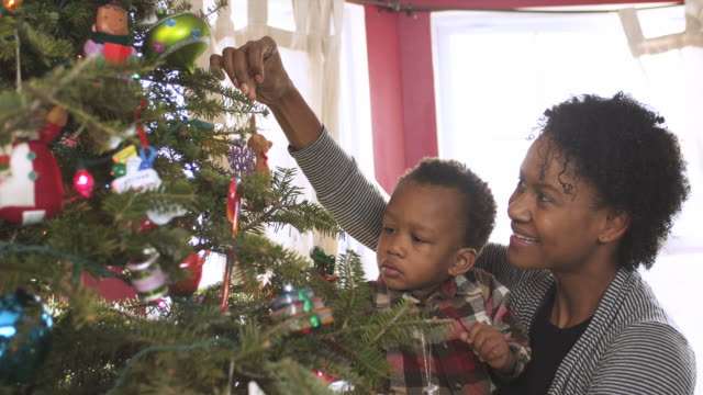 stockvideo's en b-roll-footage met ms mother and son decorating xmas tree / newark, new jersey, usa - kerstboom versieren