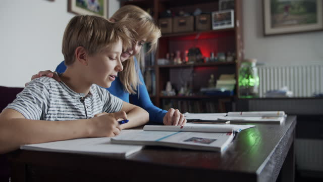 mother and son doing homework - quaderno video stock e b–roll