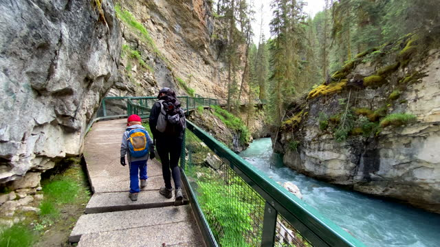 mutter und sohn wandern im johnston canyon im banff nationalpark, kanada - canyon stock-videos und b-roll-filmmaterial