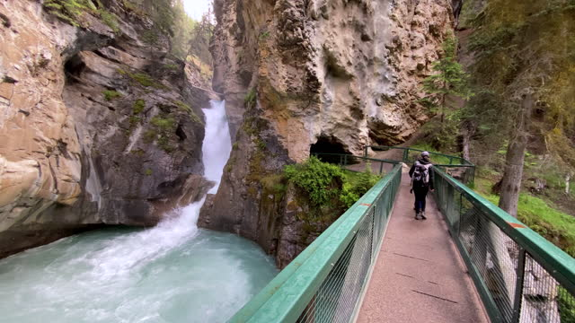 mutter und sohn wandern im johnston canyon im banff nationalpark, kanada - banff nationalpark stock-videos und b-roll-filmmaterial