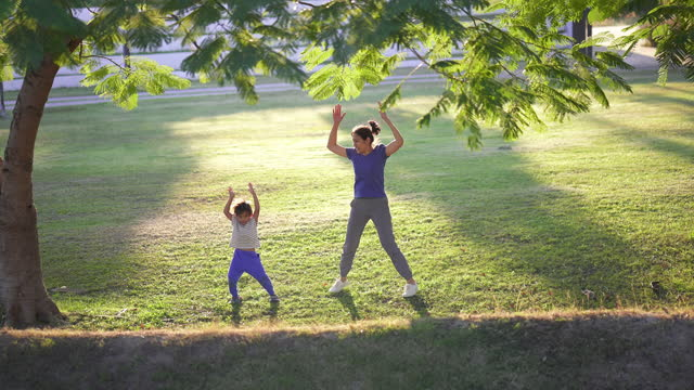 mother and son jumping jack in park. - in silhouette stock videos & royalty-free footage
