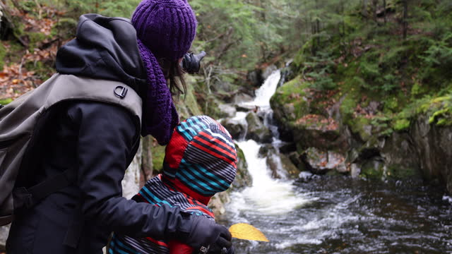 mother and son looking at waterfall in forest of mont tremblant provincial park, quebec, canada in autumn. - copy space stock videos & royalty-free footage
