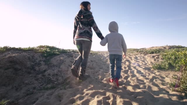 mother and son on beach - santa barbara california stock videos and b-roll footage