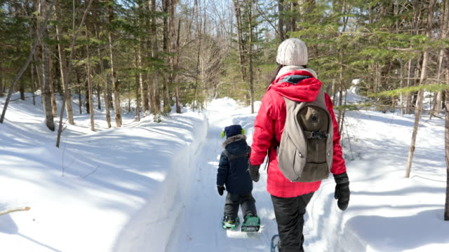 mother and son snowshoeing outdoor in winter after snowstorm - footpath stock videos & royalty-free footage
