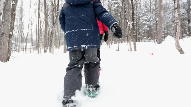 mother and son snowshoeing outdoors in winter after snowstorm - family with one child stock videos & royalty-free footage