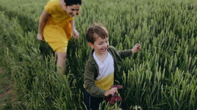 mother and son spending day in nature - fare il solletico video stock e b–roll