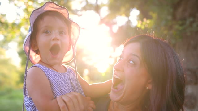 mother and suprise baby having fun. - toddler stock videos & royalty-free footage