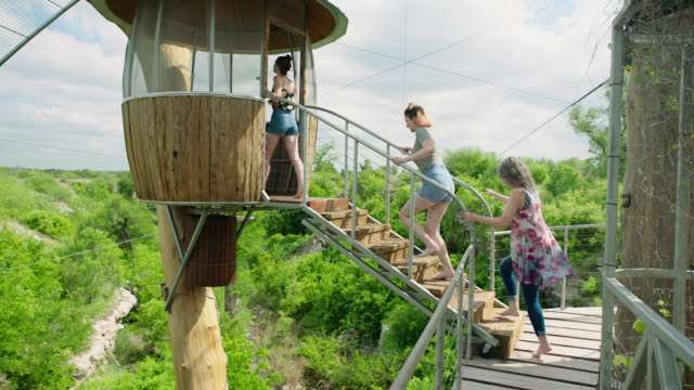 WS SLO MO. Mother and two daughters climb up to canopy lookout in giant treehouse.