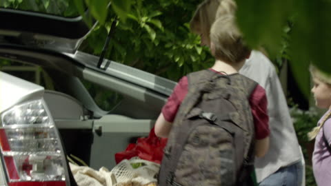 vidéos et rushes de ms shaky. pan mother and two kids (9-11) unloading groceries from trunk, encino, california, usa - décharger