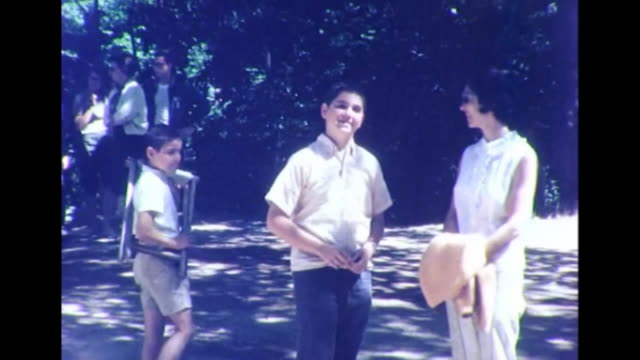 1964 mother and two sons waving - 1964 stock videos and b-roll footage