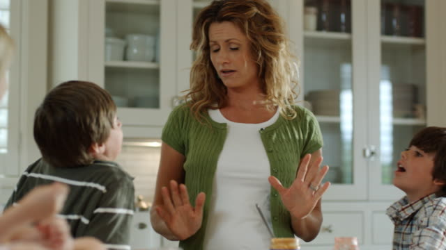 mother arguing with her children - see other clips from this shoot 1420 stock videos and b-roll footage