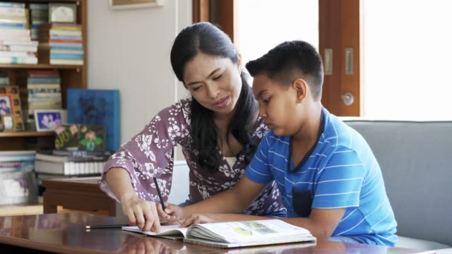 Mother assisting son in doing homework at home