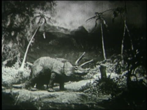 b/w mother + baby triceratops eating in jungle - triceratops stock videos and b-roll footage