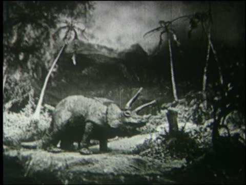 b/w mother + baby triceratops eating in jungle - 先史時代点の映像素材/bロール