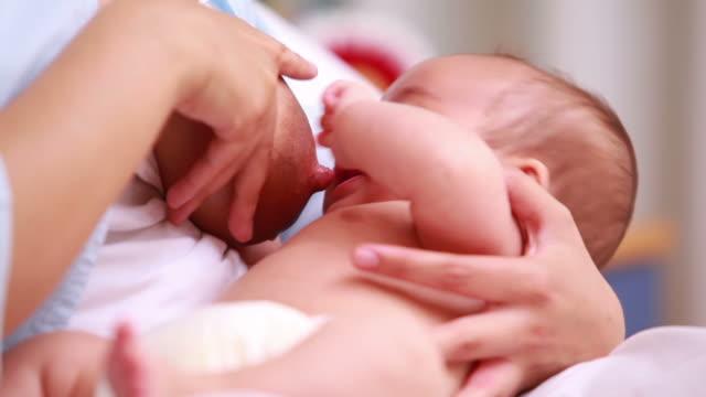 stockvideo's en b-roll-footage met mother breastfeeding a new born baby boy - borstvoeding geven