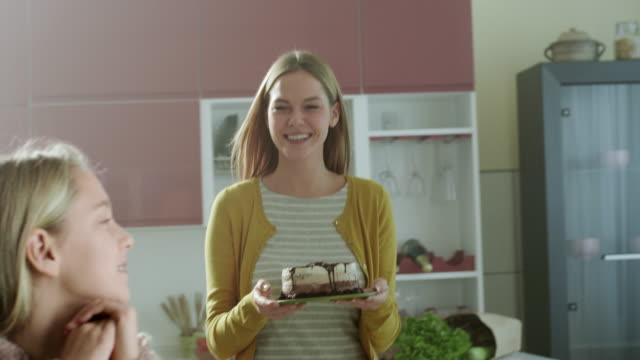 mother bringing a cake - giving stock videos and b-roll footage