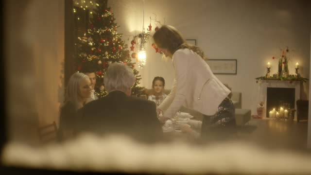 Mother brings dinner to family sitting on christmas table