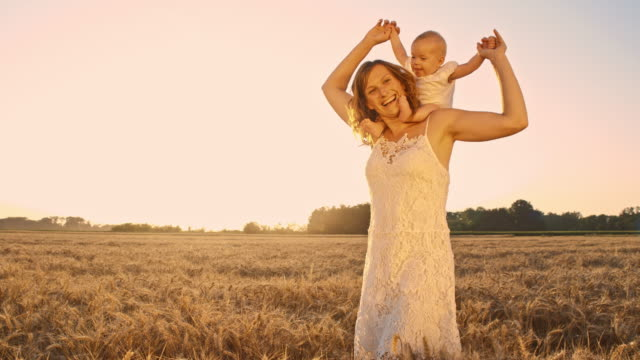 slo mo mother carrying baby on shoulders in wheat field - sundress stock videos & royalty-free footage