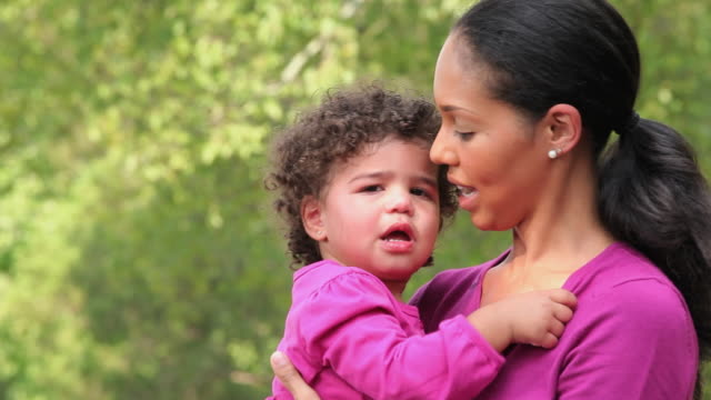 cu mother comforting crying daughter (18-23 months) / richmond, virginia, usa - 18 23 months stock videos & royalty-free footage