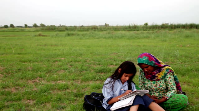 mother & daughter reading outdoor in the nature - indian mom stock videos & royalty-free footage