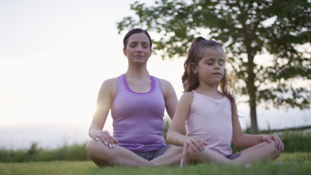 mother daughter yoga in a field - child sitting cross legged stock videos & royalty-free footage