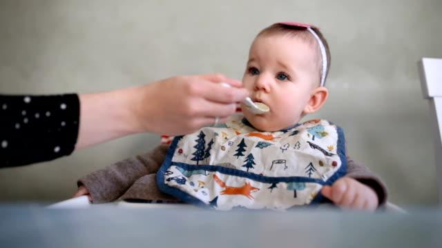 vídeos y material grabado en eventos de stock de madre a alimentación bebé adorable - cuchara
